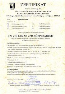 Tai chi Zertifikat Lehrerqualifikation